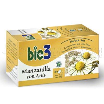 BIO3 MANZANILLA CON ANÍS. 25 bolsitas de 1,4 gr.