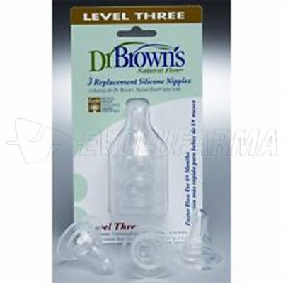 DR. BROWN'S NATURAL FLOW. TETINA DE SILICONA ESTANDAR NIVEL 3. Pack de 3 Uds.