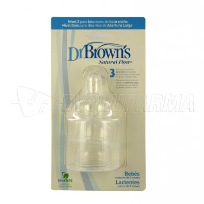 DR. BROWN'S NATURAL FLOW. TETINA DE SILICONA BOCA ANCHA -NIVEL 2-. Pack de 3 Uds