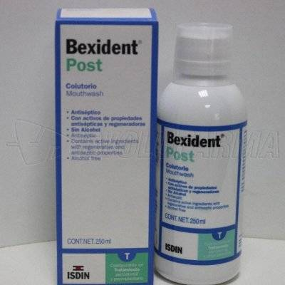 BEXIDENT POST COLUTORIO. Envase de 250 ml.