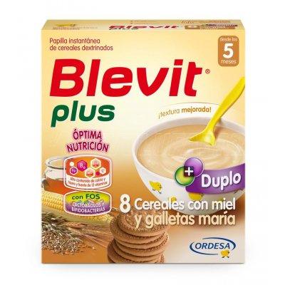 BLEVIT PLUS DUPLO 8 CEREALES CON MIEL Y GALLETAS MARÍA. Estuche de 600 g. (Dupl