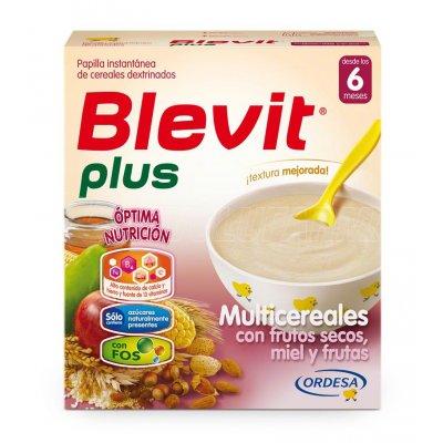BLEVIT PLUS MULTICEREALES CON FRUTOS SECOS - MIEL - FRUTAS. Envase 600 g.