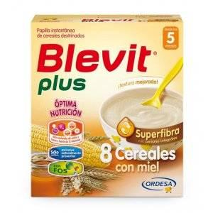 BLEVIT PLUS SUPERFIBRA 8 CEREALES CON MIEL. Estuche de 600 g.