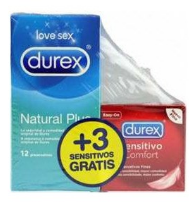 DUREX PRESERVATIVOS NATURAL PLUS EASY ON 12 UNI + DUREX SENSITIVO CONFORT 3 UNI PACK