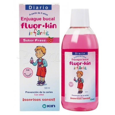 FLUOR KIN. ENJUAGUE BUCAL INFANTIL. Envase 500 ml.