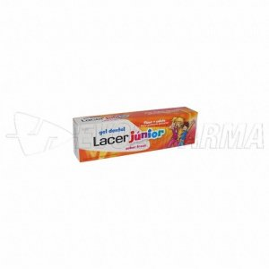 LACER JUNIOR GEL DENTAL SABOR FRESA. Tubo 75 ml.