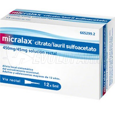 MICRALAX CITRATO/LAURIL SULFOACETATO 450 mg/45 mg solucion rectal , 12 enemas