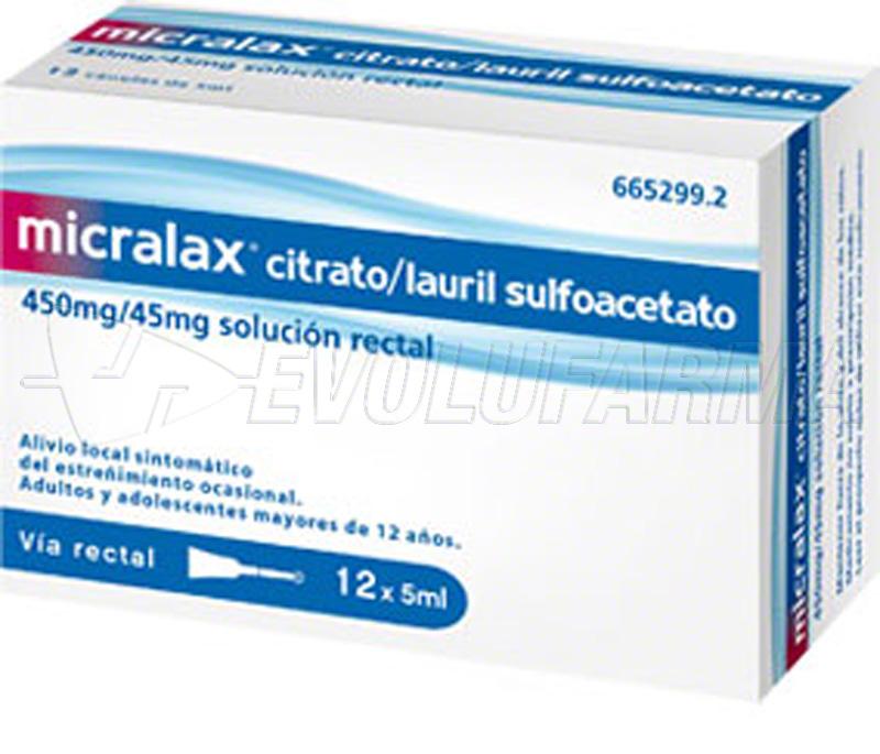 MICRALAX CITRATO/LAURIL SULFOACETATO 450 mg/45 mg solucion rectal , 12 enemas
