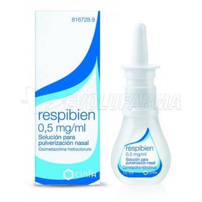 RESPIBIEN FRESHMINT 0,5 mg/ ml SOLUCION PARA PULVERIZACION NASAL, 1 envase pulverizador de 15 ml