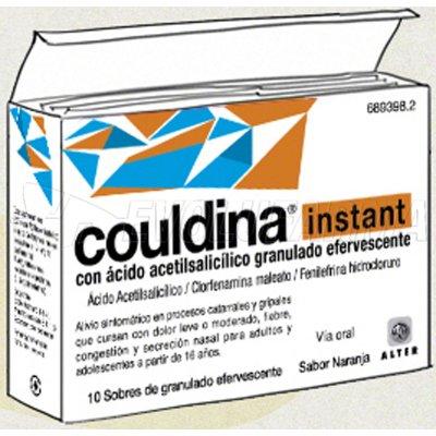 COULDINA INSTANT CON ACIDO ACETILSALICILICO GRANULADO EFERVESCENTE , 10 sobres