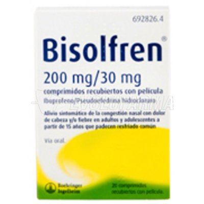 BISOLFREN 200 MG /30 MG COMPRIMIDOS RECUBIERTOS CON PELÍCULA 20 comprimidos