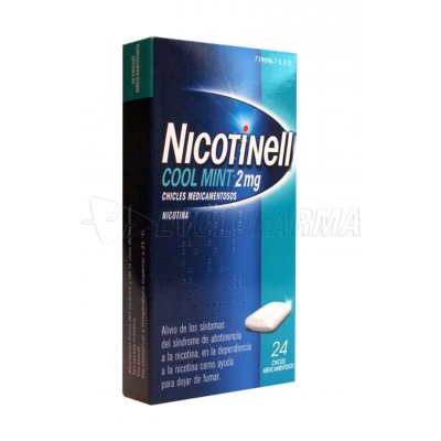 NICOTINELL COOL MINT 2 mg CHICLE MEDICAMENTOSO, 24 chicles