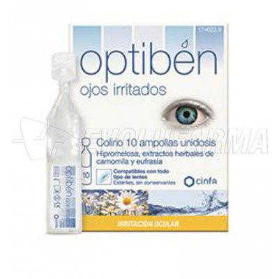 OPTIBÉN OJOS IRRITADOS. 10 ampollas monodosis de 0,40 ml