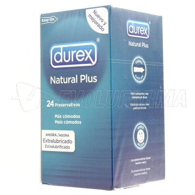 PROFILACTICO DUREX NATURAL PLUS EASY ON. 24 Uds.