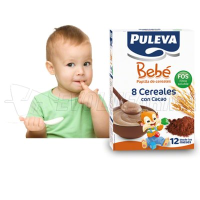PULEVA BEBE PAPILLA 8 CEREALES CON CACAO FOS. 600 g