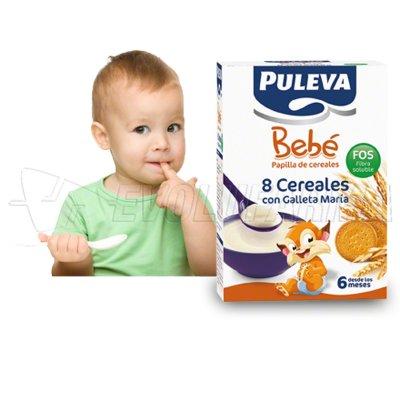 PULEVA BEBE PAPILLA 8 CEREALES GALLETA MARIA FOS. 500 g