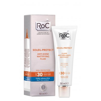 ROC SOLEIL-PROTECT FLUIDO MATIFICANTE ANTI-BRILLOS SPF 30. Tubo 50 ml.