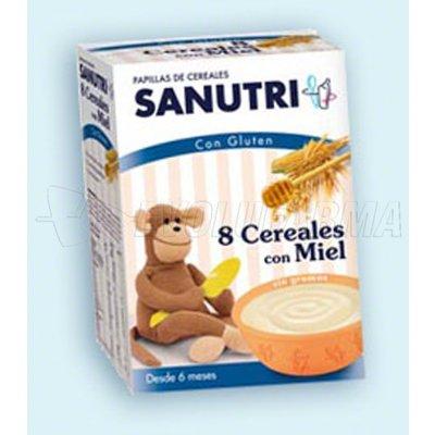 SANUTRI PAPILLA 8 CEREALES CON MIEL. Envase 2 bolsas de 300g