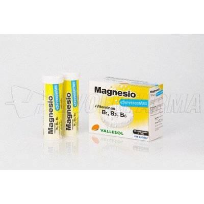 VALLESOL MAGNESIO+VITAMINA B. Caja de 24 comprimidos efervescentes sin azúcar.